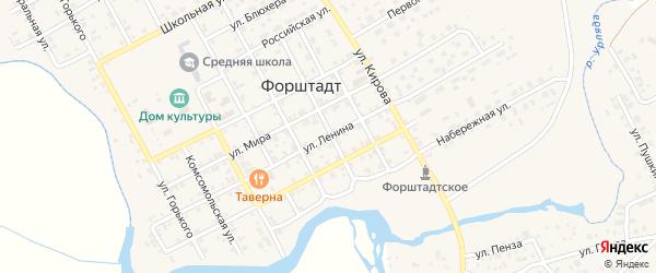 Улица Ленина на карте села Форштадта с номерами домов