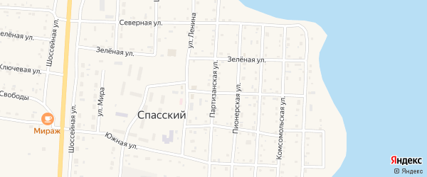 Партизанская улица на карте Спасского поселка с номерами домов