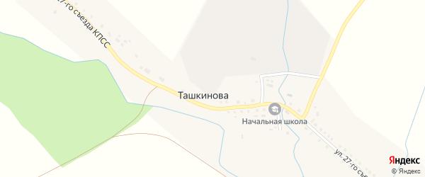 Заречная улица на карте деревни Ташкинова с номерами домов