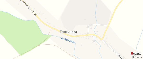 Улица 27 Съезда КПСС на карте деревни Ташкинова с номерами домов