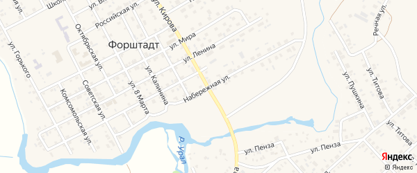 Набережная улица на карте села Форштадта с номерами домов