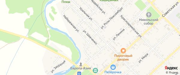 Улица Шевченко на карте Верхнеуральска с номерами домов
