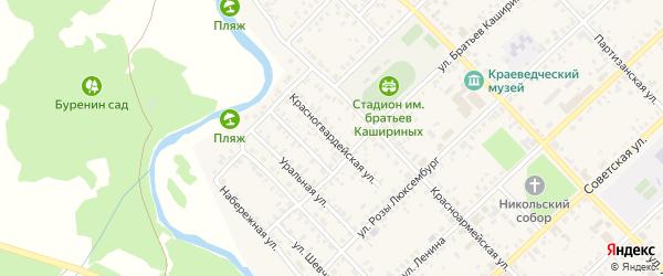 Красногвардейская улица на карте Верхнеуральска с номерами домов