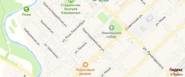 Красноармейская улица на карте Верхнеуральска с номерами домов