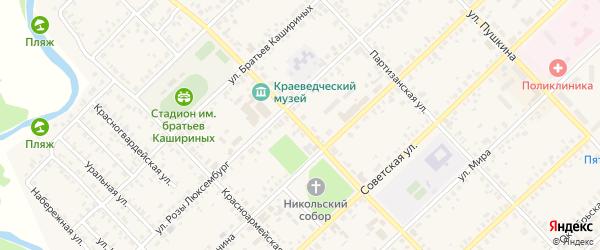 Улица Луначарского на карте Верхнеуральска с номерами домов