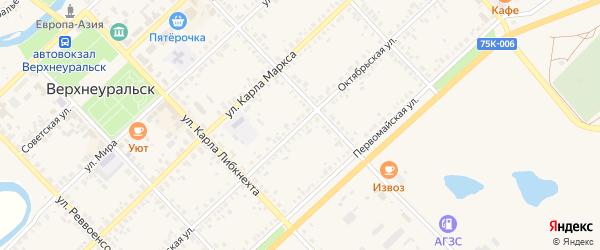Октябрьская улица на карте Верхнеуральска с номерами домов