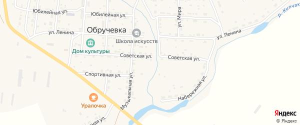 Молодежная улица на карте села Обручевки с номерами домов