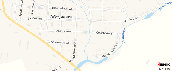 Пионерская улица на карте села Обручевки с номерами домов