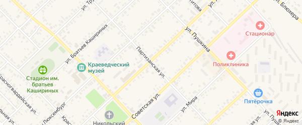 Партизанская улица на карте села Форштадта с номерами домов