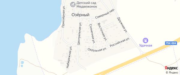 Южный переулок на карте Озерного поселка с номерами домов
