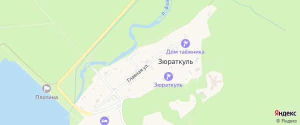 Главная улица на карте поселка Зюраткуля с номерами домов