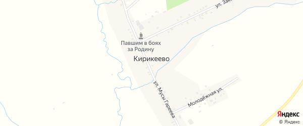 Улица Мусы Гареева на карте деревни Кирикеево с номерами домов