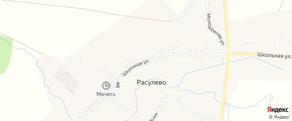 Школьная улица на карте деревни Расулево с номерами домов