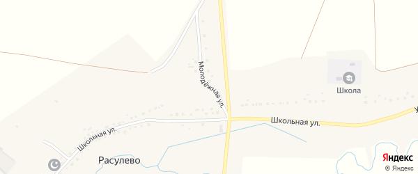Молодежная улица на карте деревни Расулево с номерами домов