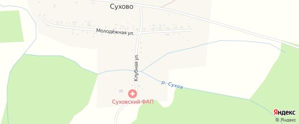 Клубная улица на карте деревни Сухово с номерами домов