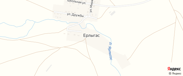 Улица Дружбы на карте поселка Ерлыгаса с номерами домов