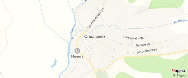 Карта села Юлдашево в Башкортостане с улицами и номерами домов