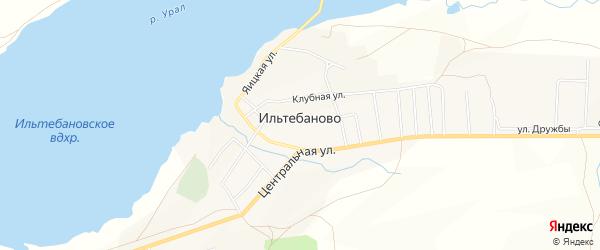 Карта села Ильтебаново в Башкортостане с улицами и номерами домов