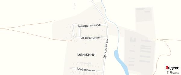 Улица Ветеранов на карте железнодорожной станции Гумбейки с номерами домов