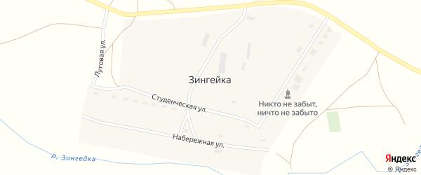 Луговая улица на карте поселка Зингейки с номерами домов