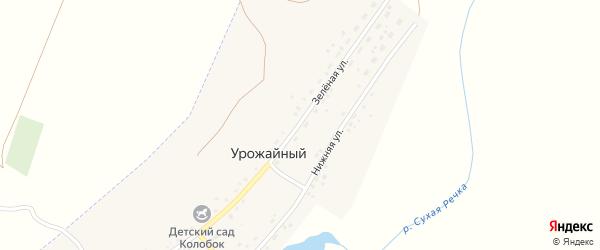 Зеленая улица на карте Урожайного поселка с номерами домов