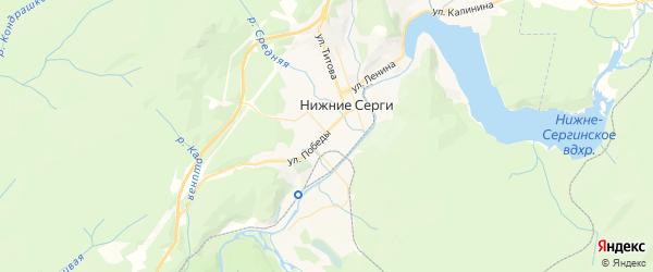 Карта Нижние Серги с районами, улицами и номерами домов