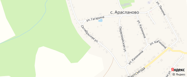 Октябрьская улица на карте поселка Арасланово с номерами домов