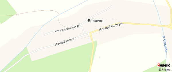 Молодежная улица на карте поселка Беляево с номерами домов