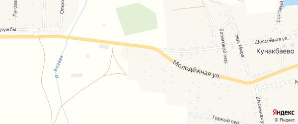 Молодежная улица на карте села Кунакбаево с номерами домов