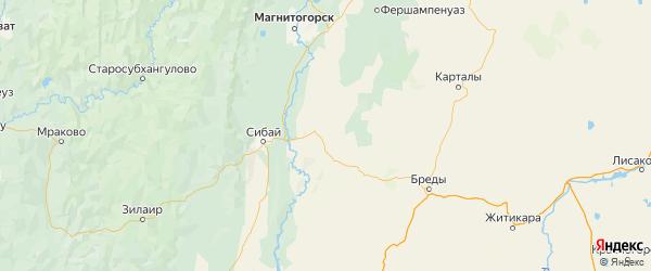 Карта Кизильского района Челябинской области с городами и населенными пунктами