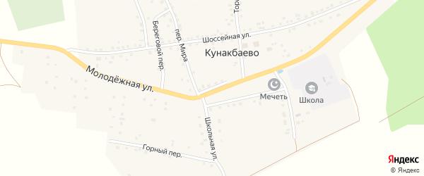 Школьная улица на карте села Кунакбаево с номерами домов