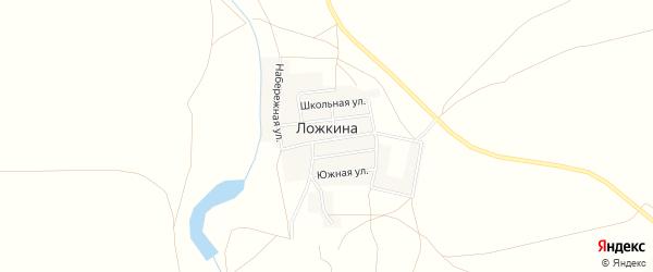 Карта деревни Ложкиной в Челябинской области с улицами и номерами домов
