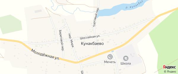 Шоссейная улица на карте села Кунакбаево с номерами домов