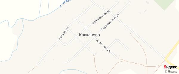 Центральная улица на карте деревни Калканово с номерами домов