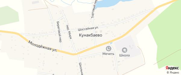 Речной переулок на карте села Кунакбаево с номерами домов
