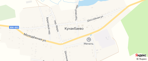 Береговой переулок на карте села Кунакбаево с номерами домов