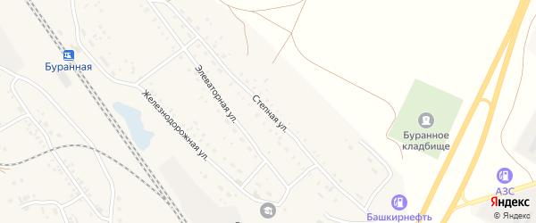 Степная улица на карте Буранной железнодорожной станции с номерами домов