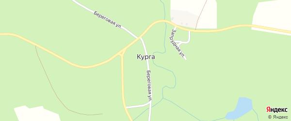Запрудная улица на карте деревни Курги с номерами домов