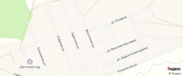 Восточная улица на карте села Кунакбаево с номерами домов