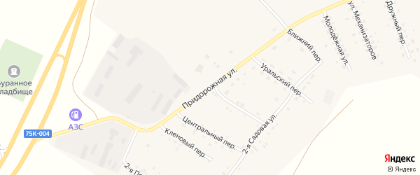 Придорожная улица на карте Буранного поселка с номерами домов