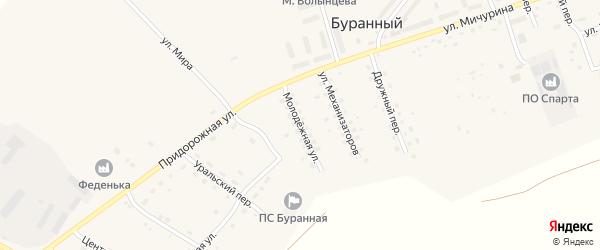Молодежная улица на карте Буранного поселка с номерами домов