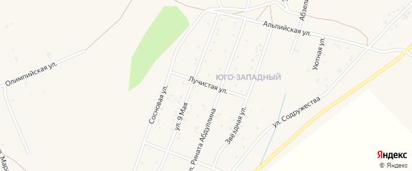 Лучистая улица на карте Учалы с номерами домов