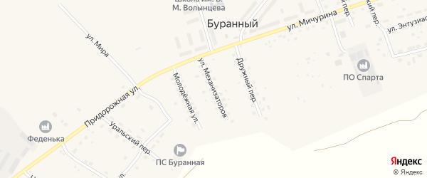Улица Механизаторов на карте Буранного поселка с номерами домов
