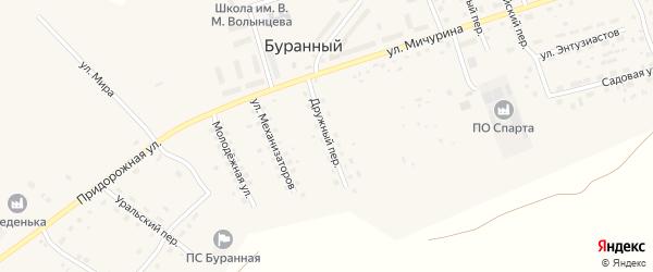 Дружный переулок на карте Буранного поселка с номерами домов