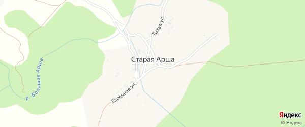 Заречная улица на карте деревни Старой Арши с номерами домов