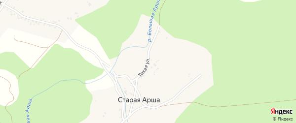Тихая улица на карте деревни Старой Арши с номерами домов