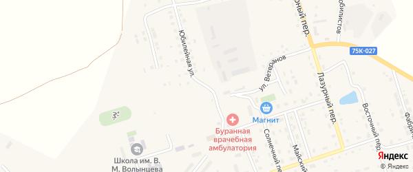 Юбилейная улица на карте Буранного поселка с номерами домов