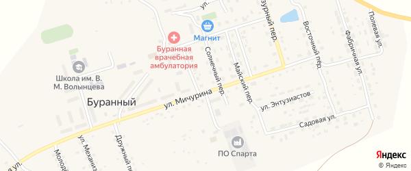Зеленый переулок на карте Буранного поселка с номерами домов