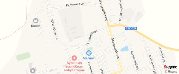 Улица Ветеранов на карте Буранного поселка с номерами домов