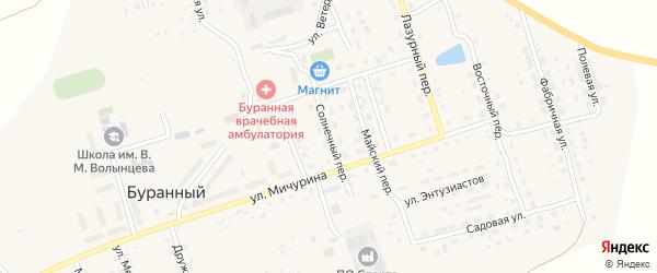 Солнечный переулок на карте Буранного поселка с номерами домов